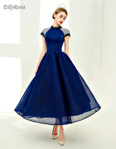 Платье женское, винтажное, темно-синее, с высоким горлом и кристаллами