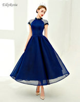 Vintage Dark Blue Prom Dresses for Party High Neck Crystals Beading Special Occasion Formal Dress Women Elegant robe de soire
