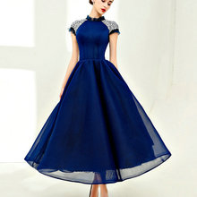 Vintage Dark Blue Prom Dresses for Party High Neck Crystals