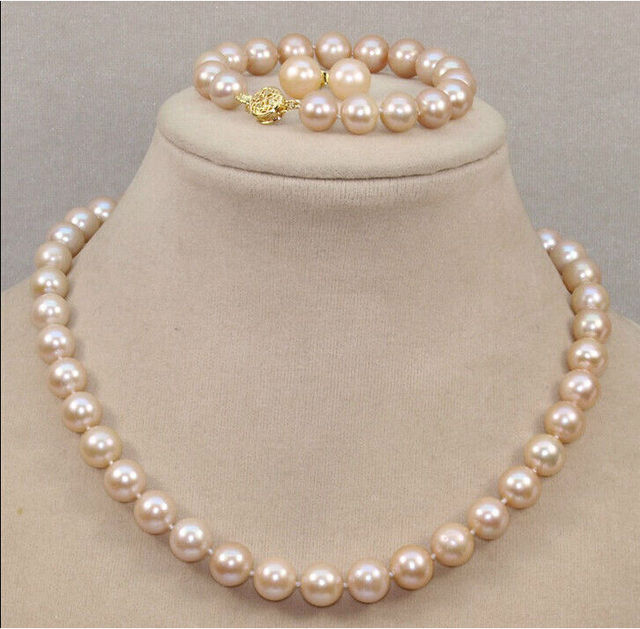 elegant 10-11mm natural south sea pink pearl necklace Bracelet Earring 18 inch a(5.18)
