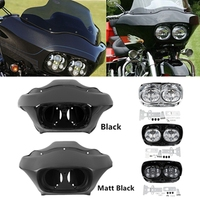 Motorcycle Motorbike Inner Outer Fairing & 5.75'' Dual LED Headlight For Harley Road Glide 98 13 11 12