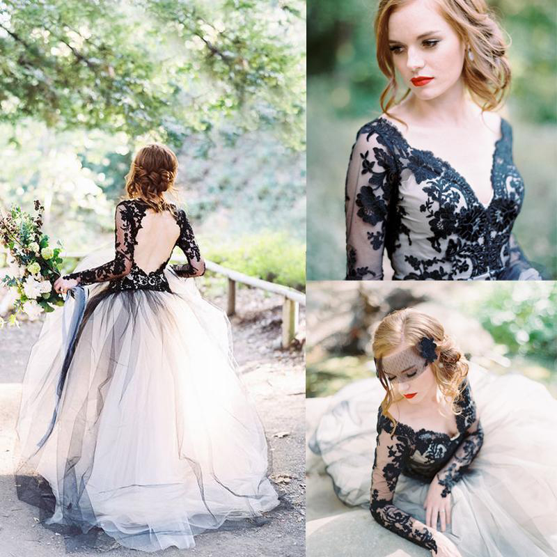 Vintage 2017 latest black lace and white tulle wedding for Black and white wedding dresses with sleeves