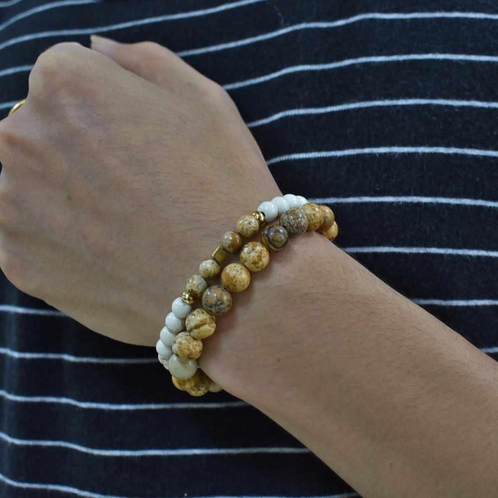 2 sztuk/zestaw proste moda pary odległość bransoletka z kamienia naturalnego paciorki bransoletki dla kobiet mężczyzn biżuteria dla zakochanych prezent Pulseras
