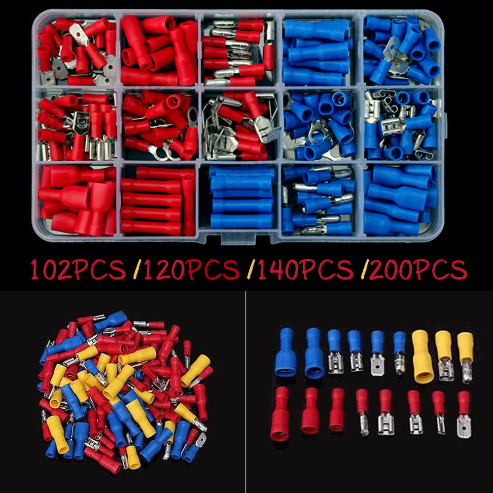 Electrical Assorted Insulated Wire Cable Terminal Crimp Connector Spade Set Kit LB88 1200 pcs mixed assorted lug kit insulated electrical wire connector crimp terminal spade ring set clh