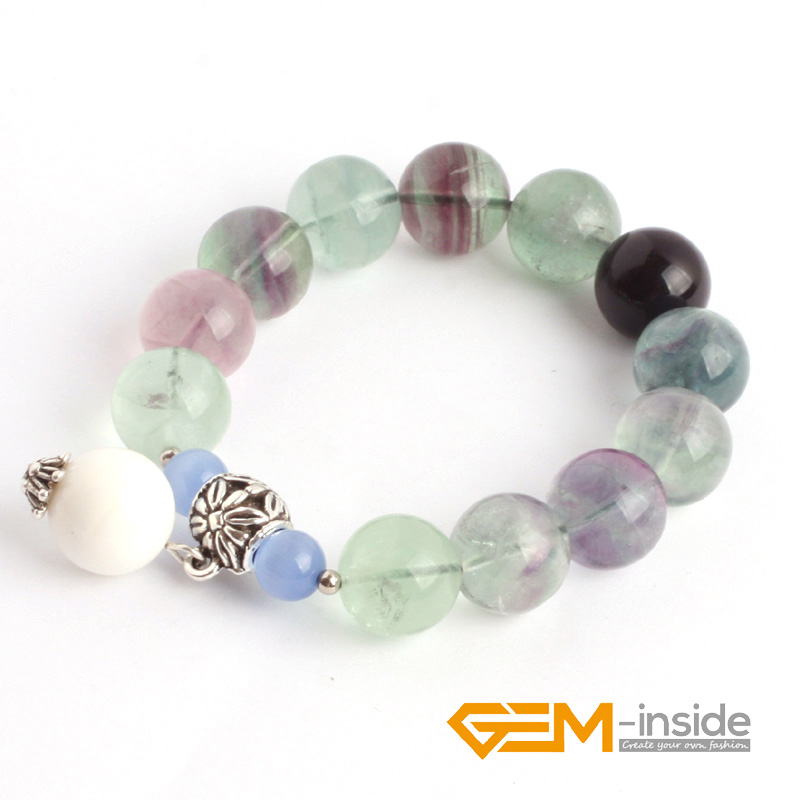Fluorite Stone Beads Bracelet :10mm 14mm Natural Stone Bracelet DIY Jewelry Bracelet Guardian Stone For Aquarius Free Shipping