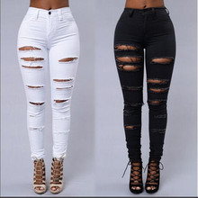 ZOGAA 2019 Women Fashion Cotton Hole Pencil Pants Skinny  High Waist Stretch Jeans Slim Trousers Capris Hot Sale