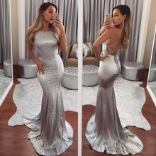 2018 Sexy Open Back Straps Silver Ladies Party Wear Gowns Long Dresses  Evening Prom Wear Women Bridesmaid Dress For Wedding 166590f14760