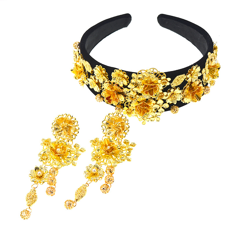 Jeweled Head Band Baroque Headband Wide Diamante Bridal Headband Embellished Hair Accessories For Women Lace Flower Crown Gold