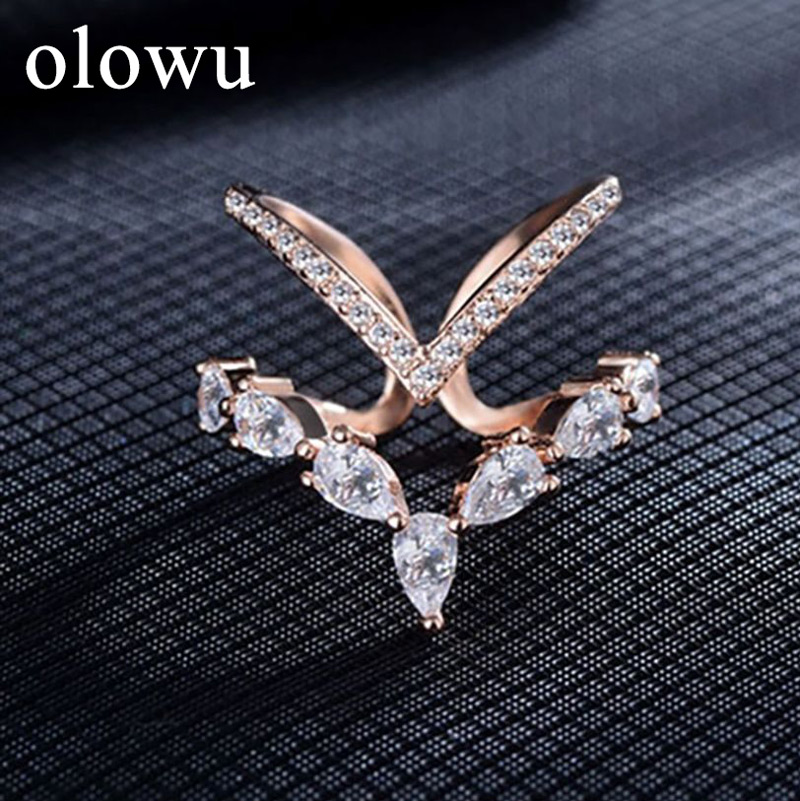 olowu Fashion Wedding Engagement Party Rose Gold Silver Rings Women Multilayer V shape Cubic Zirconia Adjustable Ring Jewelry