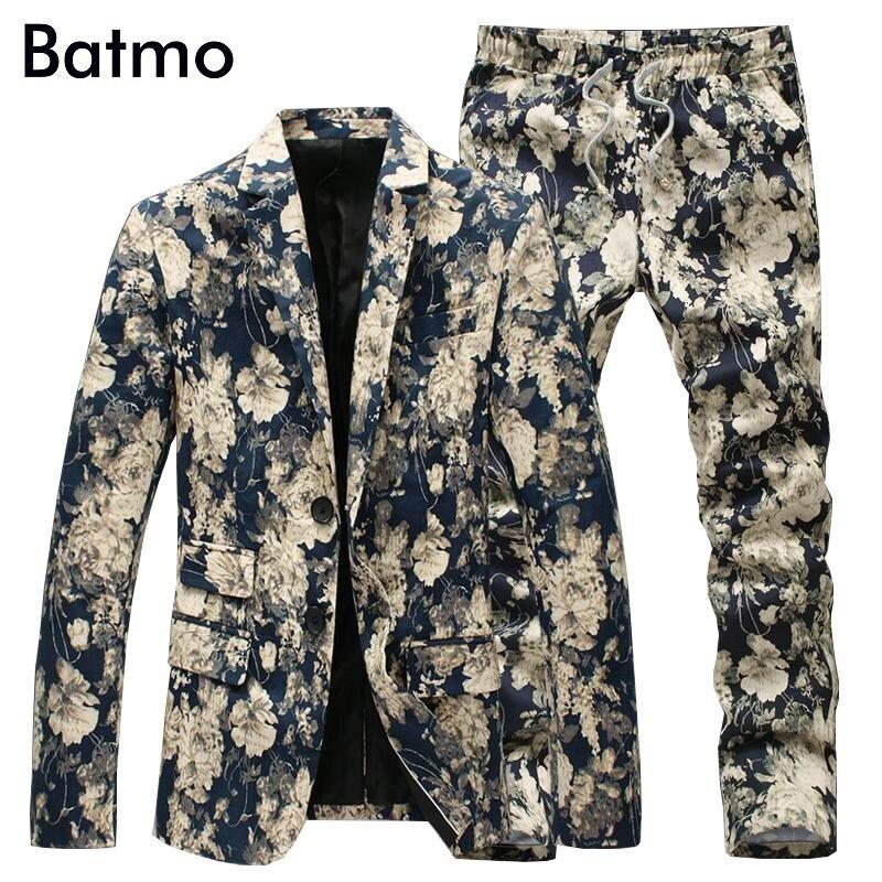 Jacket Pants Men Floral Suits 2017 New Designer Brand Fashion vintage Slim Flower Business Dress