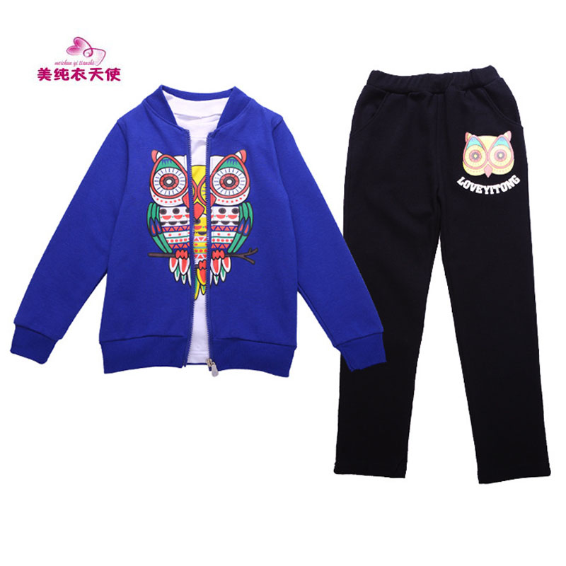 Children Tracksuits New Boys Girls Owl Printing Suit 3 Pieces Cotton Spring Autumn Kids Clothes 4 6 8 10 12 Years Free Shipping