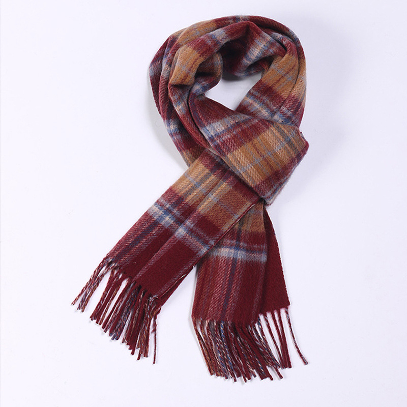 Promotions 100% laine hommes classique mode plaid longues écharpes 30x170 cm patchwork couleur