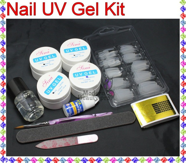 FT-132 Free shipping  Pro Acrylic UV Gel French Nail Art False Tip DIY Kit Set nail tools