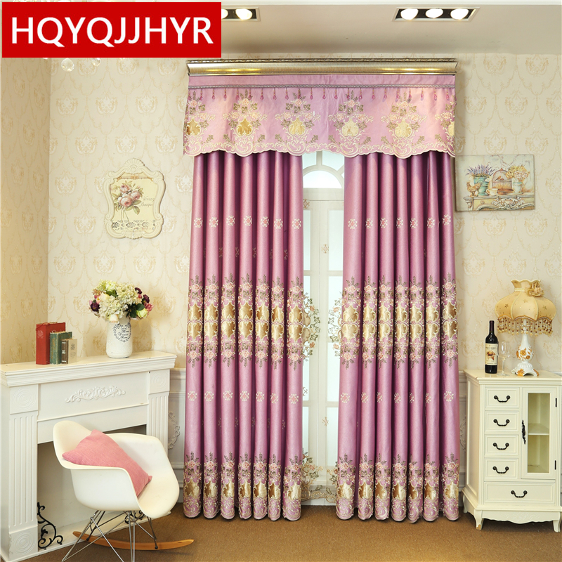 HQYQJHYR European luxury full shade embroidered curtains for bedroom high-end custom villa living room/ kitchen