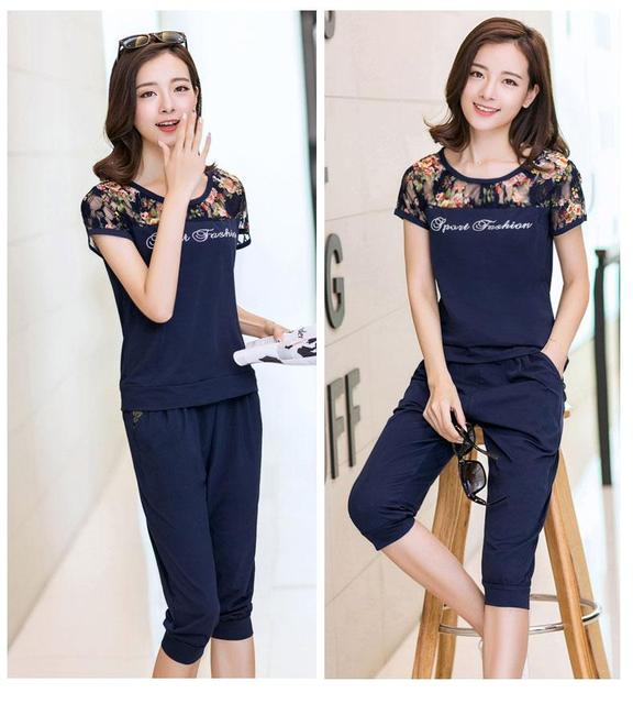 Lace Patchwork Women Fashion Sets 2 Pieces Lady Clothing Set Large Size M-4XL 2016 Summer Women Casual Suits Tops + Pants