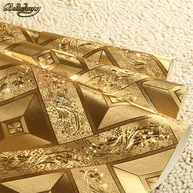 beibehang papel de parede modern PVC foil gold wallpaper for bedroom living room safa wall paper roll 3d Wall covering Decor designer wallpaper waterproof gold foil ktv ceiling mosaic wall paper kitchen living room home decor 10m papel de parede rolo