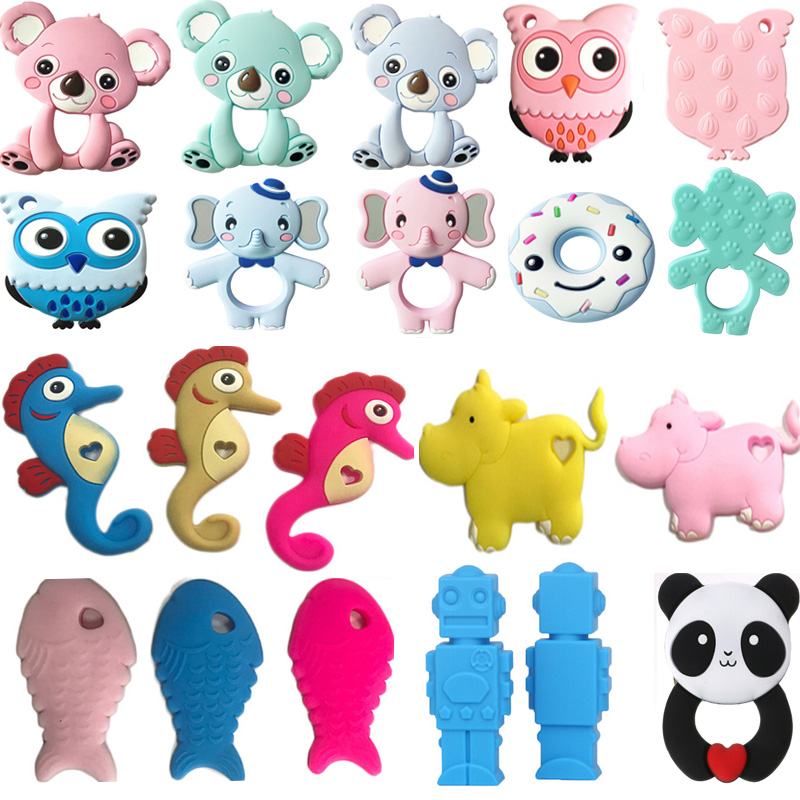 27 Colors Silicone Teethers Animal Koala Owl Elephant Baby Ring Teether Silicone Chew Charms Baby Teething Gift Toddler Toys