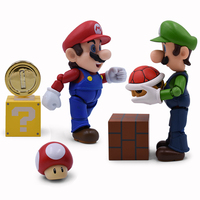 Super Mario Bros Figure Toy Mario Luigi With Toad Mushroom Gold Coin Great Model Doll Set for Kids Collectible