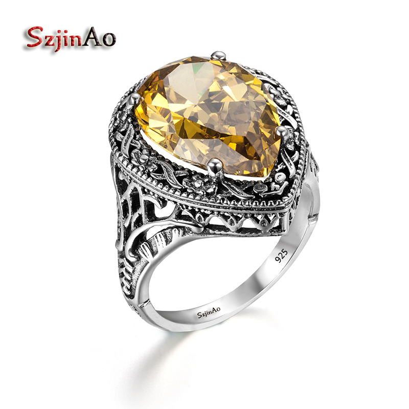 Szjinao 925 Sterling Silver Women <font><b>Carter</b></font> <font><b>Love</b></font> <font><b>Ring</b></font> Heart Shape Yellow Crystal Clamor Victoria Style Ancient Jewelry Wedding Band image