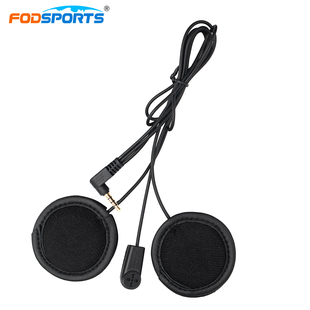 Fodsports V6 1200M Helmet Headset Accessories Motorcycle Jack Headphone For Full-face Helmet Bluetooth Intercom Earphone