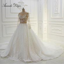 Amanda Design Long Sleeve Lace Appliqued Illusion See Through Sexy Wedding  Dresses dd4b97ea68d7