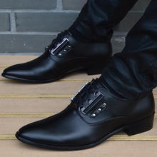 Купить с кэшбэком  New Men Shoes Leather High Quality Pointed Toe Business Men Shoes Casual Breathable Black Lace Up Dress Shoes Zapatos Hombre