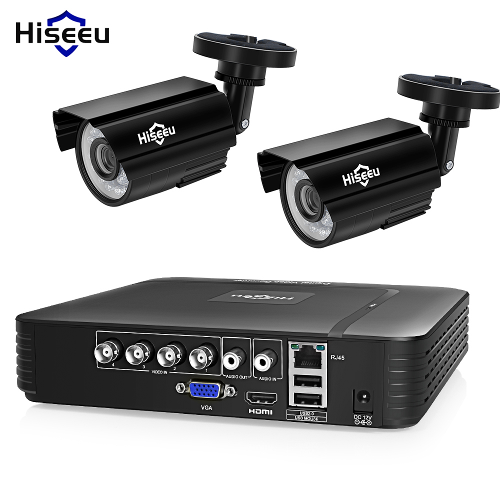 Hiseeu 4CH DVR CCTV System 2 stücke Kameras 2CH 1,0 MP IR Außen Sicherheit Kamera 720 p HDMI AHD CCTV DVR 1200 TVL Überwachung Kit