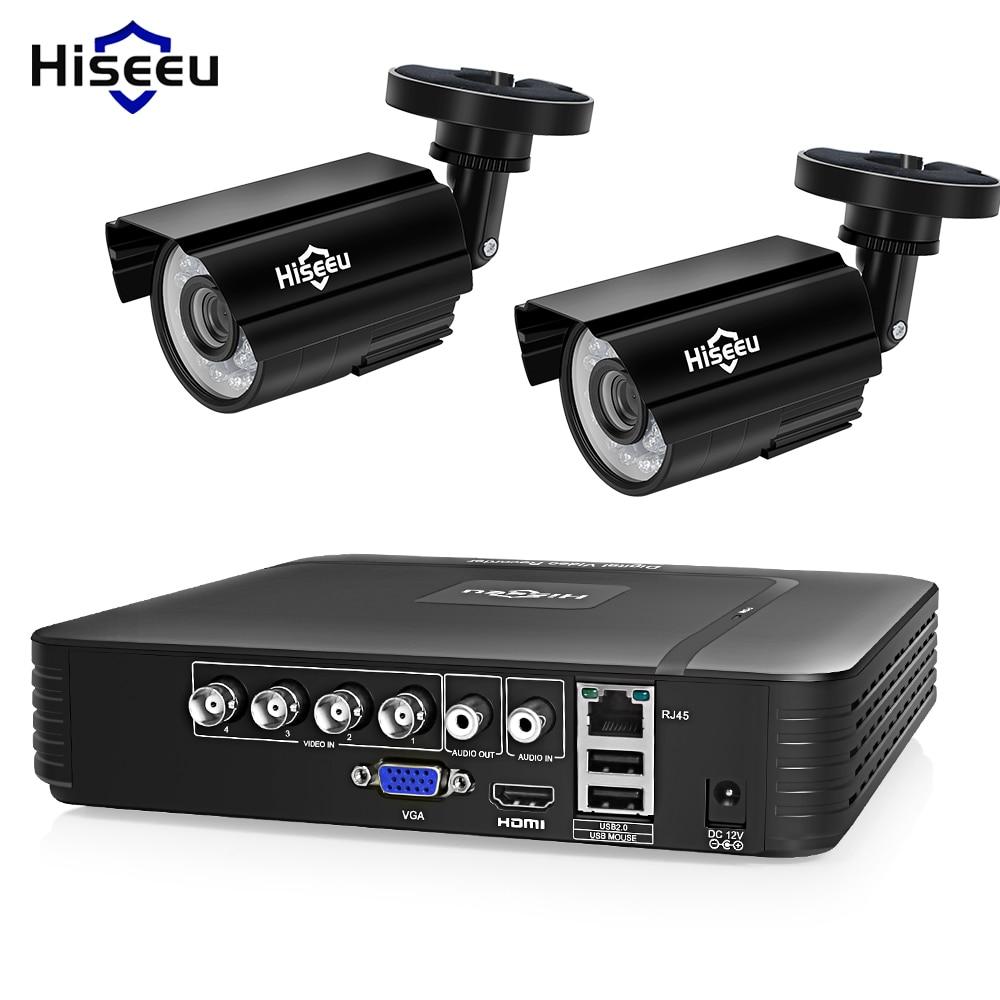 Hiseeu 4CH DVR Sistema de CFTV 2 pcs 2CH 1.0 MP Câmeras IR Ao Ar Livre Câmera de Segurança 720 p HDMI CCTV AHD DVR Kit de Vigilância De 1200 TVL