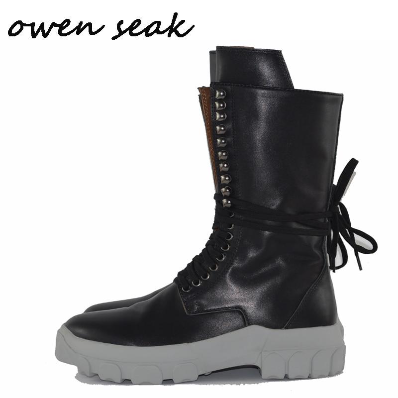 Owen Seak Erkekler günlük çizmeler Diz Yüksek binici çizmeleri Retro Hakiki Deri Lace Up Sneakers Lüks Eğitmenler Çizmeler Düz siyah ayakkabı'da  Grup 1