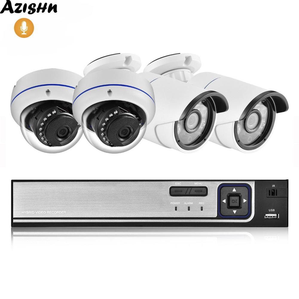 AZISHN 4CH 5.0MP POE NVR CCTV Security System HD 5MP H.265 Audio Record IR Metal Casing IP Camera Video Surveillance Kit ONVIF