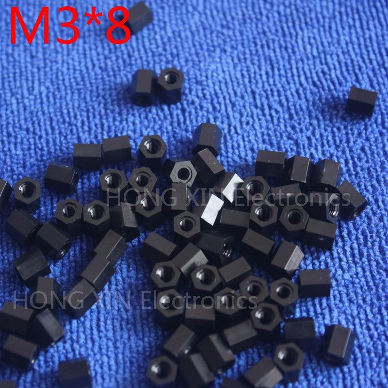 M3 * 8 preto 1 pcs Nylon 8mm Hex Masculino-Feminino Standoff Spacer Rosca Hexagonal Standoff Espaçador de Plástico espaçador de alta qualidade