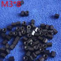 M3*8 black 1 pcs Nylon 8mm Hex Female-Female Standoff Spacer Threaded Hexagonal Spacer Plastic Standoff Spacer high-quality