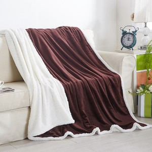 Image 2 - CAMMITEVER Home Textile Flannel Lamb Cashmere Double Thick Blanket With Sleeve On The Bed Solid Fluffy Linen Bedspread