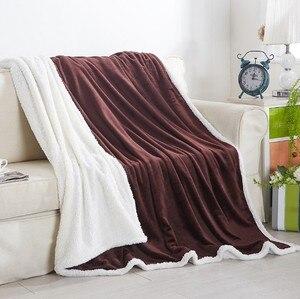 Image 2 - CAMMITEVER Thuis Textiel Flanellen Lam Kasjmier Dubbele Dikke Deken Met Mouwen Op Het Bed Solide Pluizige Linnen Sprei