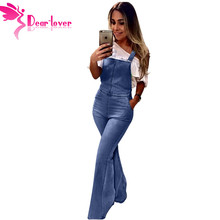 Dear Lover New Fashion Sky Blue Retro Flared Jeans Overall for Women Overalls Jeans Demin Trousers Jumpsuit LC786153