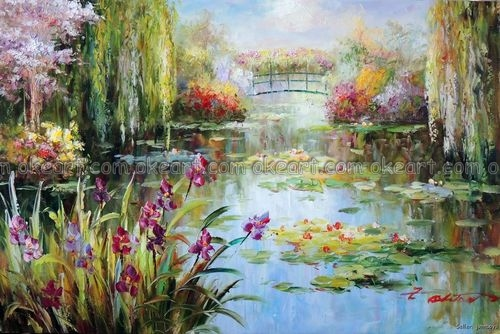 100% Hand Painted Lily Pond Purple Iris Flowers Weeping
