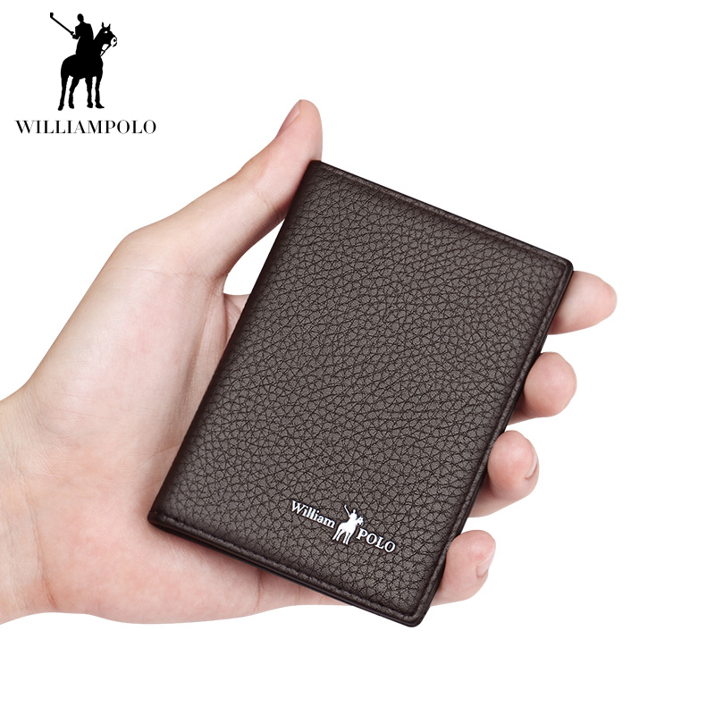 WILLIAMPOLO Slim Thin Wallet Men Genuine Leather Fashion Gift Short Wallet Men For Driver Lisence Card Holders Mini Purse  Solid
