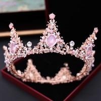 Jonnafe Rose Gold Round Crown Queen Tiara Bridal Hair Jewelry Accessories Women Headpiece Wedding Tiaras and Crowns