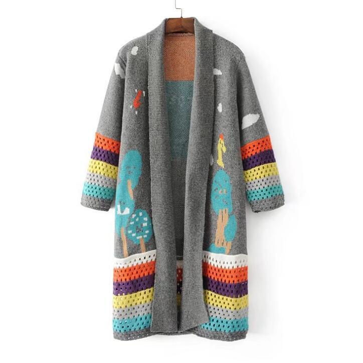 2017 Pull Acétate Impression Casual Chandails Vente De Noir D'hiver Poncho Nouveau Acrylique gris Et Chandail V Plein Femme cou Cardigan Femmes rTrEafqnP