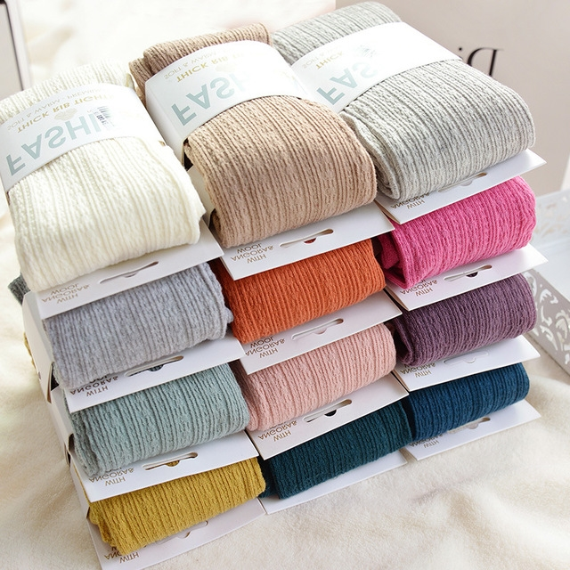 Medias tejidas de algodón pantimedias de otoño invierno Color caramelo para mujer tibia Twist Striped mallas 2 diseños medias sin pies