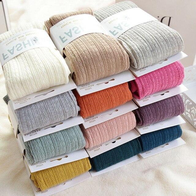 Outono inverno meia-calça algodão malha meias doces cor feminina quente torção listrado 2 designs calças sem pé