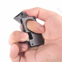 New Arrival Mini Pocket Knife With Leather Sheath Outdoor Camping Carabiner Survival Karambit Ring Card Knife