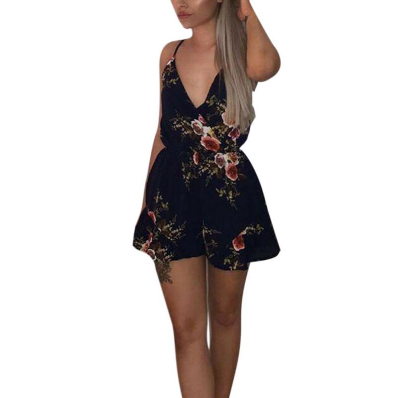 Women Floral Print Chiffon Jumpsuit Summer Short Pleated Waist Overalls Female Chest Wrapped Strapless Playsuits