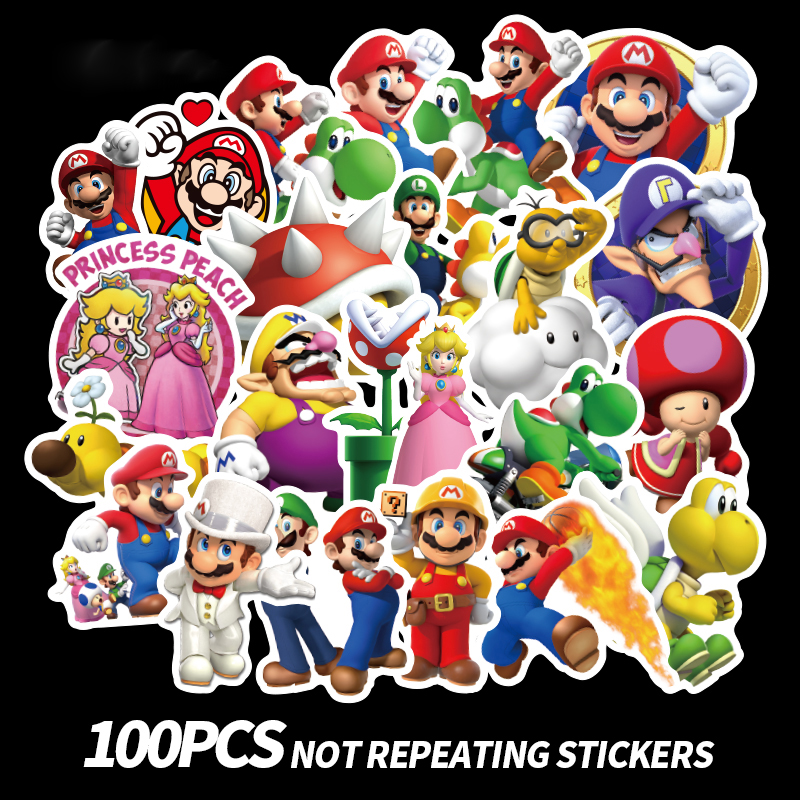 100pcs Anime Game Mario Cartoon Sticker  Waterproof Suitcase DIY Laptop Guitar Skateboard Toy Lovely Stickers