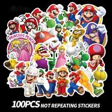 100pcs Anime Game Mario Cartoon Sticker  Waterproof Suitcase DIY Laptop Guitar Skateboard Toy Lovely Stickers
