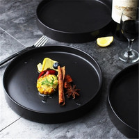 NIMITIME Western Style Elegant Black Salad Plate Restaurant Steak Plate Hotel Home Dish Deep Dinner Plate Dish