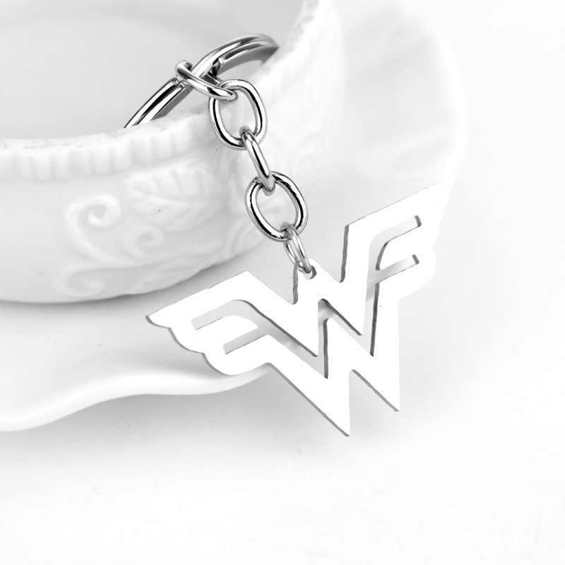 Filme Da Liga Da Justiça MQCHUN Mulher Maravilha Escudo de Armas keychain Super Herói Mulher Maravilha Logotipo Carro chaveiros Presente Simples Dos Homens Das Mulheres