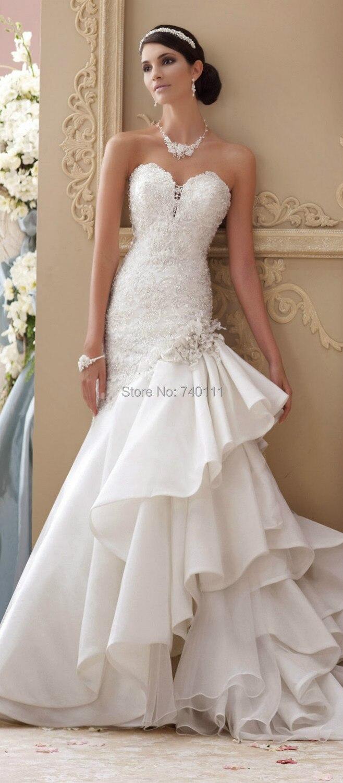 Vestidos de novia drapeados tipo sirena