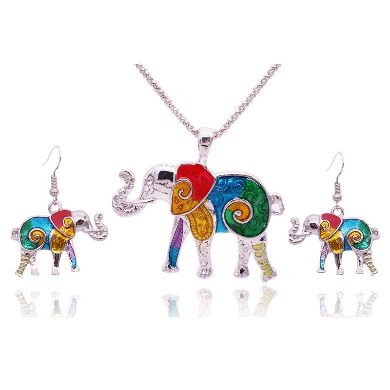 Colorful Enamel Elephant Jewelry Sets For Girls Animal Elephant Necklace Earring Set Unique Ethnic Jewelry