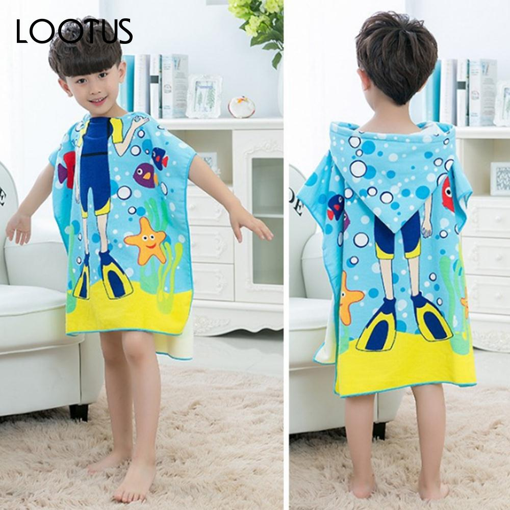 Badetuch Kinder Meerjungfrau Taucher Shark Schmetterling Cartoon Badetuch Kinder Polyester Faser Strandtuch In Meerjungfrau Taucher Shark Schmetterling Cartoon